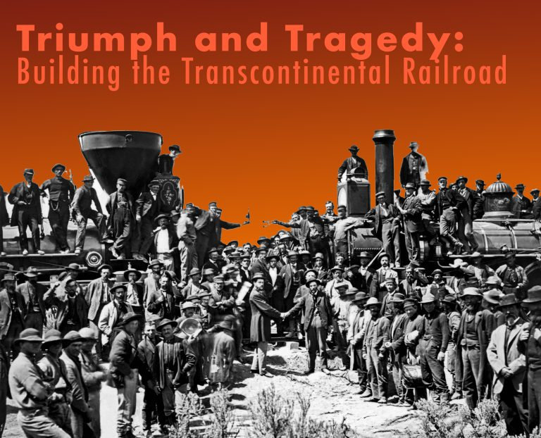 'Logo for Triumph and Tragedy symposium using the Joining of the Rails photo with two locomotives posed head-on surrounded by people shaking hands.